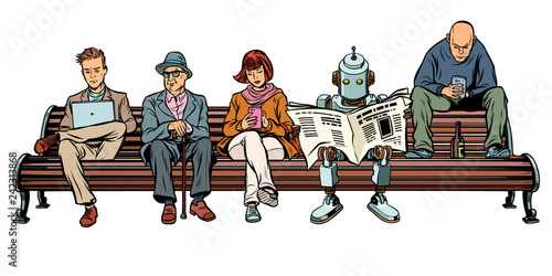 People and a robot sitting on a Park bench - 242313868