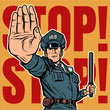 police officer stop gesture