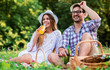 Leinwanddruck Bild - Loving couple enjoying picnic in the park. Love and tenderness, dating, romance, lifestyle concept