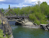 Canyon Creek Bridge, in 1942, during construction of the Alaska Highway was built in 18 days, crosses the river Aishinic, Yukon, Canada