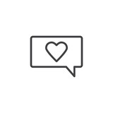 Romantic chat message line icon. linear style sign for mobile concept and web design. Speech bubble with heart outline vector icon. Love and valentine day symbol, logo illustration. Pixel perfect  - 242323867