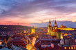 Leinwanddruck Bild - Amazing cityscape view of Prague Castle and church of our Lady Tyn, Czech Republic during sunset time. View from powder tower. World famous landmarks in Europe.