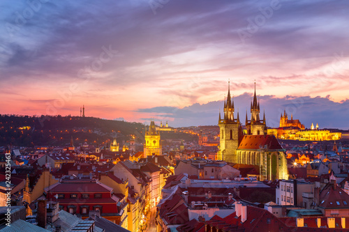 Leinwanddruck Bild Amazing cityscape view of Prague Castle and church of our Lady Tyn, Czech Republic during sunset time. View from powder tower. World famous landmarks in Europe.