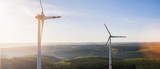 Windmills for electric power - Energy Production with clean and Renewable Energy - aerial drone shot