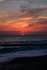 fabulous red, burgundy sky.  Sunset on the sea © Vera