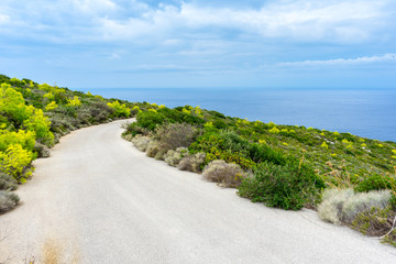 Greece, Zakynthos, Road to the blue ocean through green nature