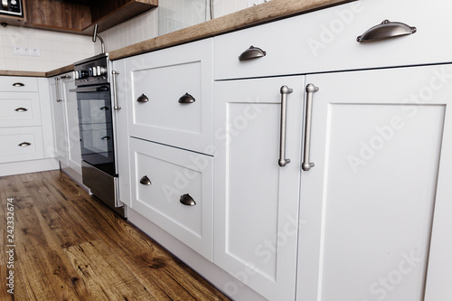 Luxury Modern Kitchen Furniture In Grey Color And Steel Handle Oven