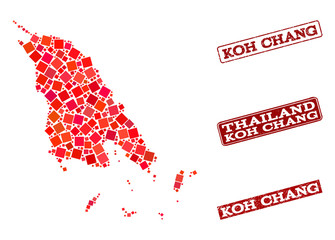 Geographic combination of dot mosaic map of Koh Chang and red rectangle grunge seal stamp imprints. Vector map of Koh Chang formed with red square mosaic items. Flat design for cartographic purposes.