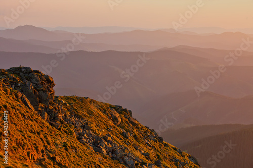 Mountain slopes in sunset light