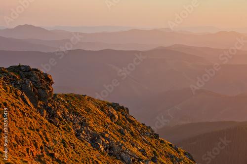 Mountain slopes in sunset light