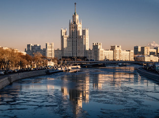 Moscow - Russian Federation, Moscow River at sunset on a frosty winter day