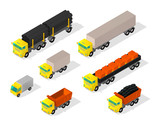 Truck set cars. Trailer delivery industry and construction. Truck with coal. Machine with pipes and bricks in the truck - 242339841