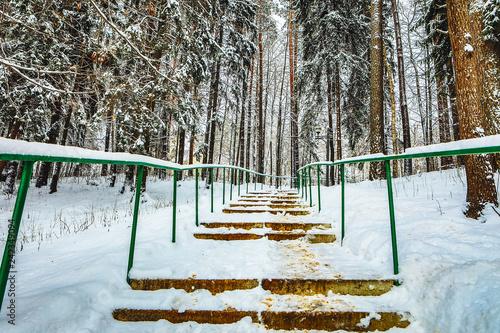 Leinwanddruck Bild Staircase with railings in snowy park.