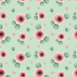 seamless pattern of pink flowers with leaves on a blue background - 242351270