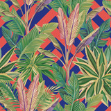 Tropical leaves seamless pattern coral blue background - 242353451