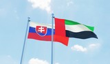 UAE and Slovakia, two flags waving against blue sky. 3d image