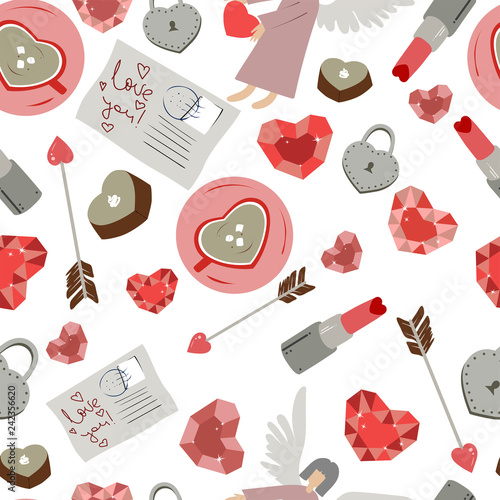 Seamless pattern made of different heart shaped things, valentine day concept, vector - 242356620