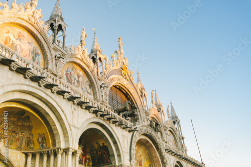 Venice, the facade of the Basilica of San Marco - 242364421