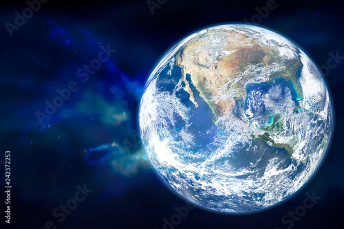 Planet Earth in outer space. Elements of this image furnished by NASA - 242372253