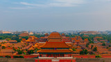 Aerial view of the Forbidden City in central Beijing, China under blue sky - 242372633