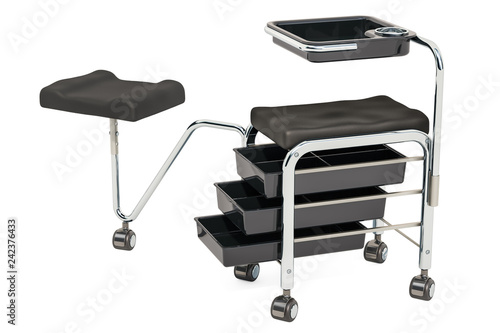 Pedicure, manicure trolley with foot stand. 3D rendering