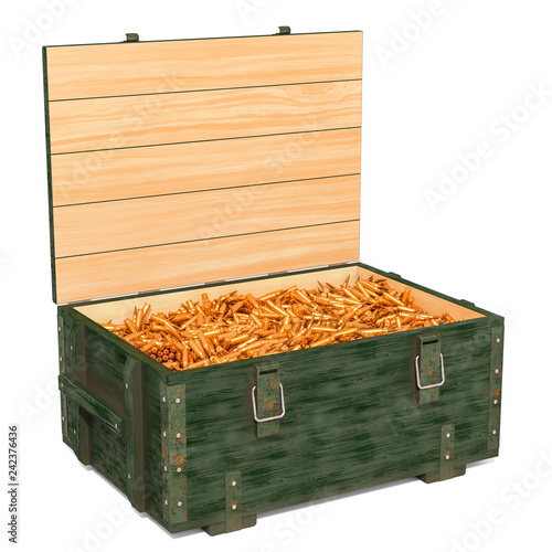 Military wooden ammunition box with rifle bullets, 3D rendering