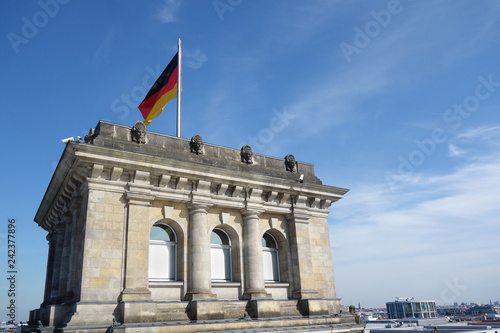 The Reichstag with German flag
