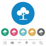 Leafy tree flat round icons - 242379453