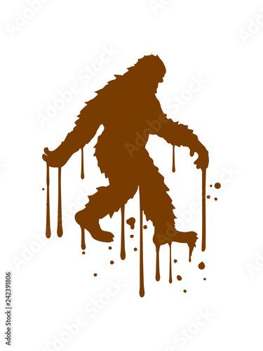 graffiti tropfen spray stempel gehender laufender seitlich bigfoot silhouette comic yeti monster cartoon affe groß fabeltier schnee weiß menschenaffe lustig riese berge winter clipart design