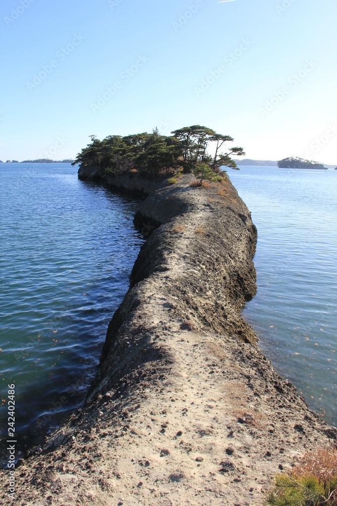 松島の名勝「馬の背」/天然の桟橋(宮城県)