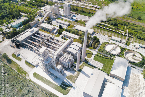 Plant for the production of cement, aerial photography