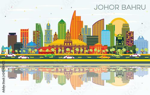 Johor Bahru Malaysia City Skyline with Color Buildings, Blue Sky and Reflections.