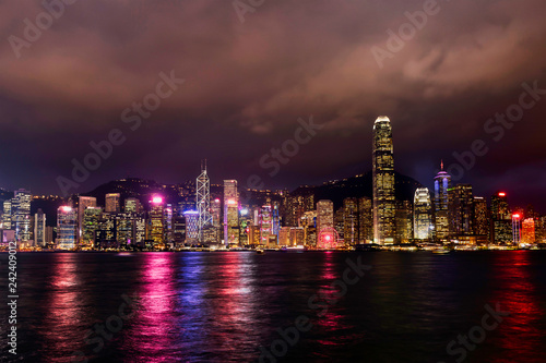 Foto Murales a night view of Hong Kong skyline