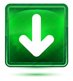 Down arrow icon neon light green square button - 242410220