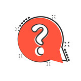 Question mark icon in comic style. Discussion speech bubble vector cartoon illustration pictogram. Question business concept splash effect. - 242421600
