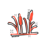 Reeds grass icon in comic style. Bulrush swamp vector cartoon illustration pictogram. Reed leaf business concept splash effect. - 242423257