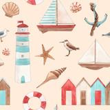 Watercolor marine vector pattern - 242423616