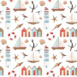 Watercolor marine vector pattern - 242423672