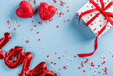Valentine's day background - present, love baloon, confetti, top view - 242424401