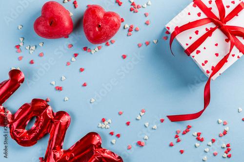 Valentine's day background - present, love baloon, confetti, top view