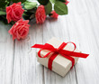 Valentine gift box and roses bouquet