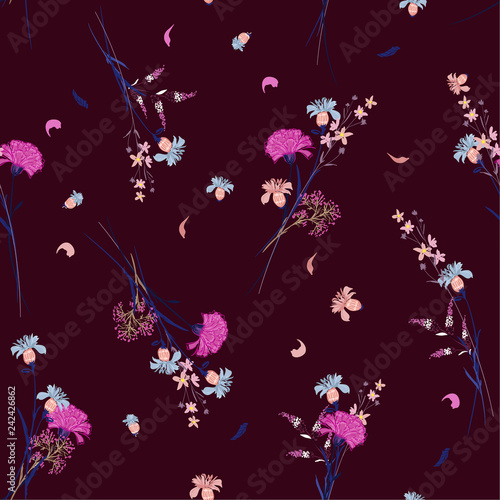Trendy Wild flower pattern Botanical Motifs scattered random. Seamless vector texture. For fashion prints. Printing with in hand drawn style