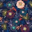 Line Hand sketch blooming garden flower contrast colorful seamless pattern vector for fashion fabric and all prints - 242427207