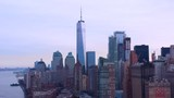 Freedom Tower on a gloomy day; downtown manhattan; aerial slow pan; cinematic. - 242430058