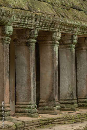 Colonnade of stone pillars under mossy roof