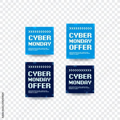 Cyber Monday Offers Bitmap Design Vector Labels