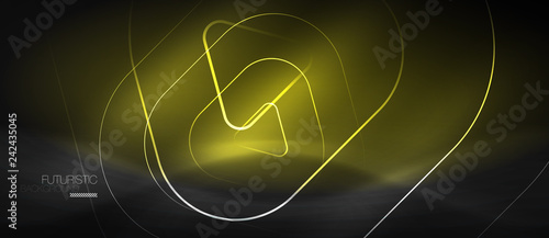 Dark black abstract background with neon colors and lines - 242435045