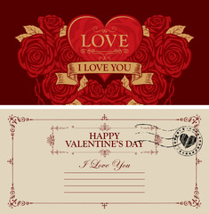 Two sides of a Valentine card or postcard with a red heart and roses. Romantic vector postcard in vintage style with place for text, calligraphic inscription I love you and words Happy Valentines day