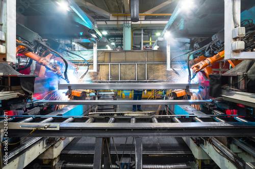 Welding robot, the process of welding a metal profile.