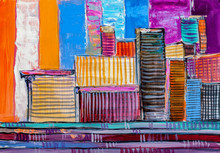 "Постер, картина, фотообои ""Abstract painting of urban skyscrapers."""